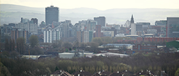 Manchester city is pictured from a distance
