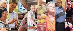 Row of eight images of older people having a nice time